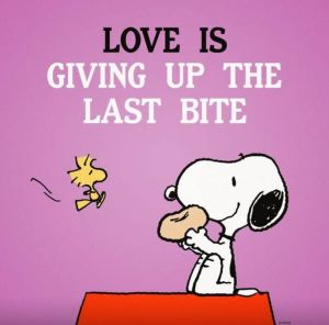 Love is giving up the last bite - Snoopy - 2-12-14