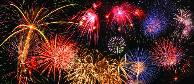 Fireworks of different colors over a night sky - Extra large size