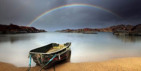rainbow and boat